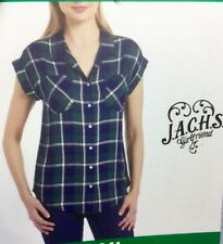 JACHS Girlfriend Women's Quinn Cap Sleeve Button Front Blouse Size XL