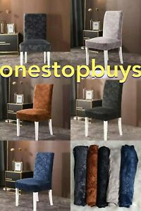 Soft Velvet Floral Dining Chair Covers Stretchable Christmas Slipcover Decor
