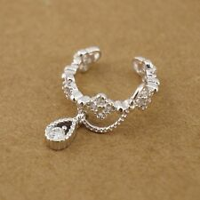 1x 925 Sterling Silver Flower CZ  Clip-on Cuff Climber Crawler Earring A1766-S