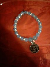 Letter R Charm Aquamarine Gemstone Bracelet