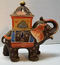 Elephant Figurine with Lidded Carriage Trinket Incense Raised Color Vintage