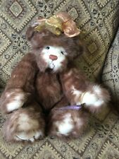 15� Annette Funicello Bear - Brown Bear With Gold And Copper Ribbon