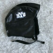 BYU bomber style trapper hat Cougars football team Faux Leather Fur beanie