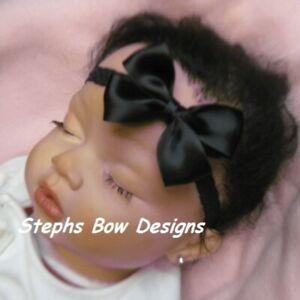 Black Satin Dainty Hair Bow Headband 4 Preemie Newborn Baby Toddler Halloween