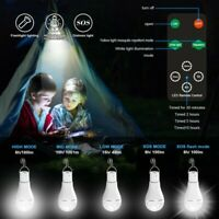 Solar Panel Powered LED Lights Bulb Light Tent Lamp Yard Camping Indoor Outdoor