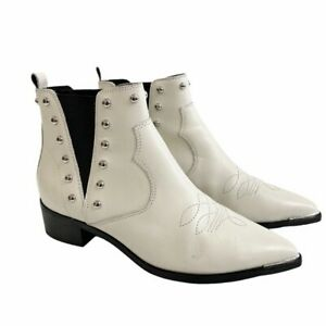Marc Fisher White Ankle Boots YENTE Chelsea Studded, Women's Size 6.5