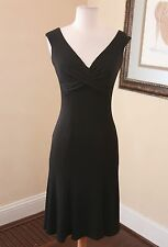 Vtg Tadashi Black Draped Cocktail Dress Size 6 Flare Evening Formal V-Neck