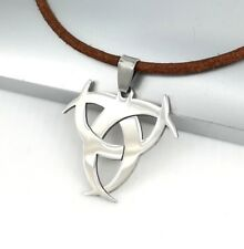 Silver Poison Symbol Biohazard Pendant 3mm Brown Leather Choker Surfer Necklace