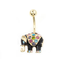 Belly Button Ring with Black Enamel Elephant Design and Multiple Color C