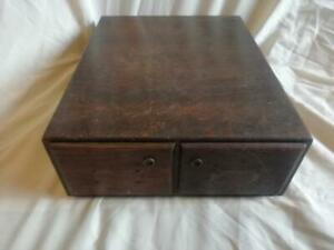 """MID CENTURY 'ADVANCE SYSTEMS' 2 DRAWER WOOD  CARD INDEX FILE TAKES  5""""X3"""" CARDS"""