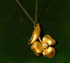 """Vintage 12k Gold filled Violet Shamrock Flower Pearl 16"""" Chain Necklace 1a 100"""