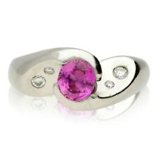 PRE-OWNED PLATINUM PINK SAPPHIRE & DIAMOND CROSSOVER RING