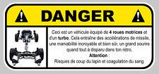 DANGER TURBO 4WD SUBARU FUN BOOST JDM AUTOCOLLANT STICKER 12cmX5,5cm  (DA129)