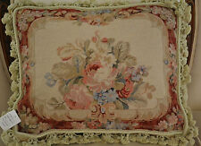 "18""x 22"" French Country Style Handmade Petite Point Needlepoint Pillow WM-17"
