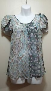 👚🛍 $168 Walter Multi SILK Color Circle Sheer Tulip Sleeve Top Blouse ~ 4 M3020