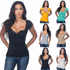 Summer Women V Neck Blouse T-Shirt Casual Stretch Plunge Cleavage Button Tee Top