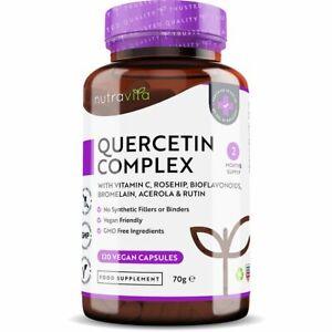 Quercetin Complex + Vitamin C - 120 Vegan Capsules - Immune Support, Antioxidant