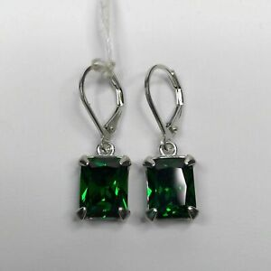 3ct Green Emerald Cut Royal Solitaire Women Drop Earrings 14ct White Gold Over