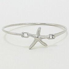 Starfish Bangle Bracelet Plain SILVER Hinge Sealife Sand Dollar Nautical Jewelry