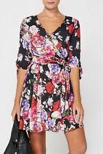 NWT DECJUBA ISLA WRAP DRESS | SZ 8, 10 & 12 | BLACK FLORAL v neck, pockets