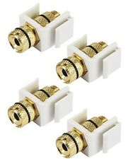 4x Banana Plug/Spade/Bare Wire Snap-in Jack Insert for Keystone Wall Plate White