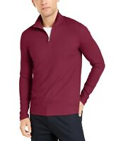 Alfani Mens Sweater Ripe Burgundy Red Size Medium M 1/2 Zip Ribbed $65 196