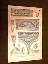 Dettagli della Certosa di Pavia nel 1886 Disegni dal vero di R.Ferrari