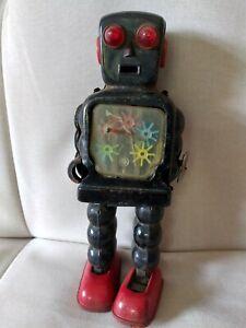 High-Wheel Robot K.O. Japanese vintage tin toy wind-up. not working