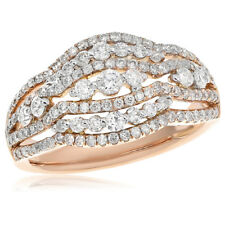 18K Rose Gold Two Tone 1.10C Right Hand Cocktail Fashion Ring