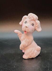 "Pink Ceramic Dog Poodle Figurine Vintage MCM 3.5"" Tall"