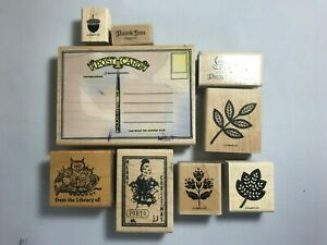 Lot of 9 Wood Mounted Rubber Stamps - Assorted
