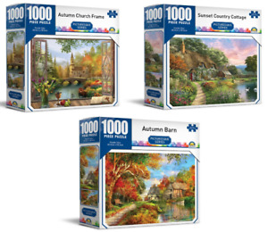 3 x 1000 Piece Jigsaw Puzzles Crown Autumn Barn + Country Cottage + Church Frame