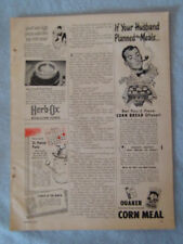 1949 Magazine Advertisement Page For Quaker Corn Meal Herb-Ox Bouillon Cubes Ad