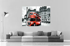 London Londres England Red Bus B&W Wall Art Poster Grand format A0 Large Print