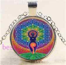 Goddess Sacred Geometry Cabochon Glass Tibet Silver Chain Pendant Necklace