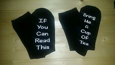 If you can read this/Bring me a Cup of Tea socks gift birthday