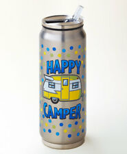 Happy Camper Stainless Steel Beverage Can Travel Mug Flip Top Spout 12 Ounce