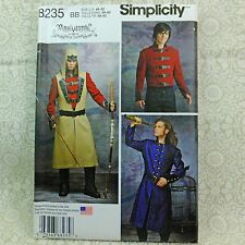 Simplicity 8235 Men's Steampunk Coat, Jacket Costume Pattern 3 looks sz 46-52
