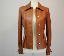 Dolce Gabbana sz 40 Leather Jacket Lambskin Brown Silver Buckle Small Motorcycle