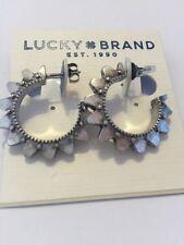 $25 Lucky Brand Silver Tone Spike Open Hoop Earrings 635