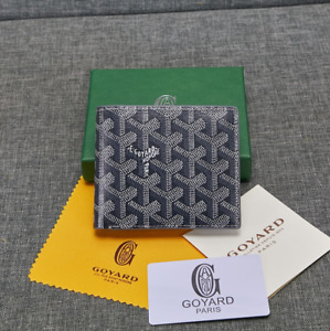 Goyard Bifold Leather Wallet Gray Men's