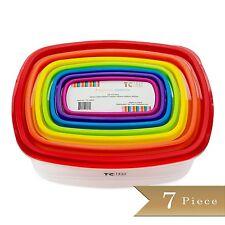 7 Piece - TrueCraftware Plastic Food Storage Containers - Multi Colored Lids