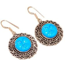 Hand Carved Face with Close Eye Moon Celestial Charm Carving Circle Earrings