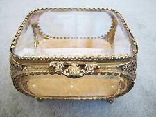 Old Vintage Gold Tone Metal Glass Trinkets Storage Box