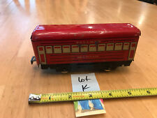 Marx O Train Tinplate TinLitho Red 4 wheel Montclair Pullman Passenger Car Lot K