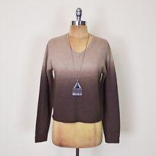 Vtg 90s Grunge Ombre Dip Dye Angora Rabbit Hair V-Neck Sweater Jumper Top S M