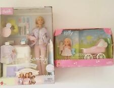 Lot of Two Baby Doctor Happy Family Barbie Doll Purple Coat & Kelly Tiny Steps