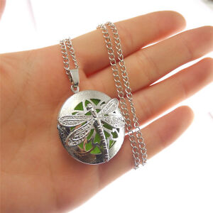 Silver Alloy Aromatherapy Oil Diffuser 24x24mm Dragonfly Pendant Locket Necklace