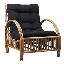 SANIBEL RATTAN ARMCHAIR - WITH CUSHION - TOBACCO/CHARCOAL