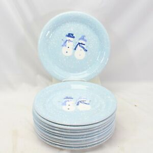 """Target Home Winter Frost Snowman Dinner Plates 10.75"""" Lot of 11"""